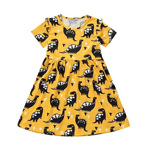 Kleinkind Mädchen Kleider CLOOM Kurzarm Dinosaurier Druck Party Kleid Outfits Kleidung Mädchen Kurzarm Kleid Mode lässig Dress Mädchen Mode Kleider Bequeme Mädchen kleiden süßes Kleid (130, Gelb) (Früchte Kostüm Machen)