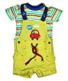 FS Mini Klub Baby Boys' Regular Fit Dungaree Set (88EBODU0013, Yellow, 9 - 12 Months)