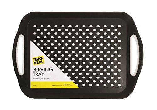 ITP 1 Plateau rectangulaire antidérapant, Noir ou Blanc, Couleur au Choix - pour déjeuner/dîner / Boissons