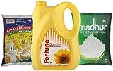 #9: Big Bazaar Combo - Pillsbury Chakki Fresh Atta, 5kg + Fortune Sunlite Refined Sunflower Oil, 5L + Madhur Pure Sugar, 5kg (Pack of 3) Promo Pack