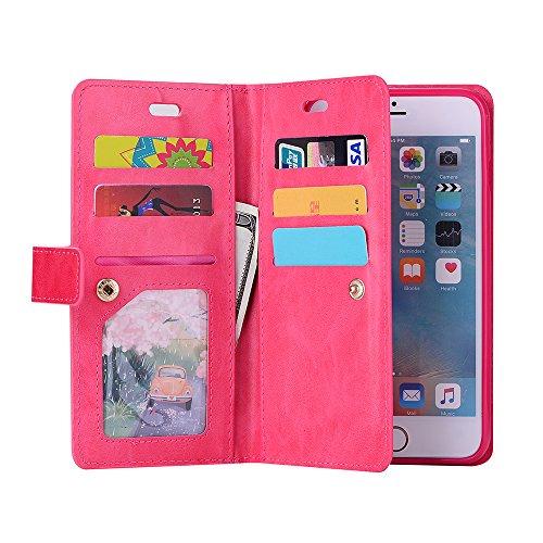 iphone 6 Hülle, iphone 6s Schutzhülle, E-lush Flexibler PU Leder Hülle für iphone 6 6s (4,7 Zoll), Multi-function Wallet Case Hülle mit Kartenfächern und Münzfächern Retro Einfarbig Muster Design Lede Rot