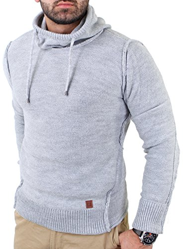 Reslad Herren Vintage Huge Collar Sweatshirt Pullover RS-3212 Grau