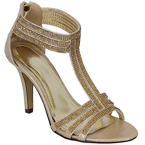 Sandal House Femmes Diamant Femmes Sandales Talon Aiguille à Bout Ouvert Demoiselle D'Honneur Mariage Noces