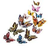 FNKDOR 12PCS 3D Schmetterlinge Wanddeko Aufkleber Abziehbilder, 12CM(2pcs),10CM(2pcs),8CM(4pcs),6CM(4pcs), schlagfestem