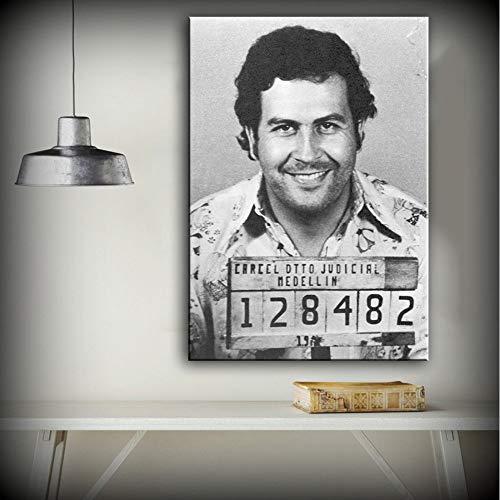 XWArtpic Wandkunst Leinwanddruck Abbildung Malerei Porträt Bild Pablo Escobar Verbrecherfoto 1991 Vertikale Wohnkultur 50 * 75 cm