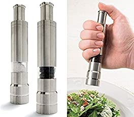 Divinext 6 inch (15cm) Tall Manual Thumb Press Stainless Steel Pepper Mill Grinder Muller Sleek and Stylish For your Kitchen