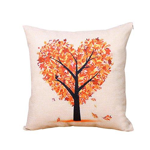 BIGBOBA Funda de cojín de lino con patrón de árbol de la vida, funda de cojín de lino para sofá, cama, decoración del hogar, plantas, flores, funda de almohada de 45 x 45 cm, Lino (H)