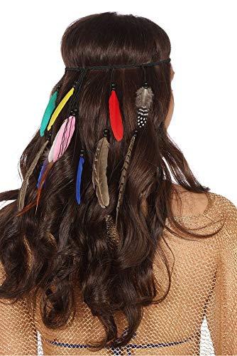 shoperama Geflochtenes Stirnband mit Federn und Holz-Perlen Indianerin Hippie Festival Haarband Kopfschmuck Kostüm-Zubehör:Version 1