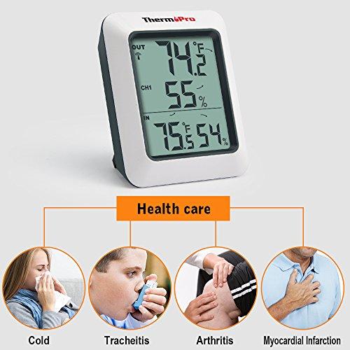 Thermopro TP60 Funk Thermo Hygrometer, Klima-Monitor mit Funk-Außensensor - 6