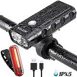 AGPTEK Lampe Vélo LED Avant/Arrière Lumières USB Rechargeable 500LM Ultra Puissante Set Eclairage VTT Phare Vélo Etanche 4 Modes pour Vélo VTT Cycliste Nocturne Camping Sport avec Support-Noir