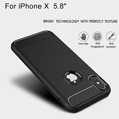 iPhone X Hülle, BENKER Stoßdämpfend und Anti-Fingerprint [ Gute Berührung ] Soft Silikon TPU Material Carbon Fiber Design Handyhülle - Schwarz Navy Blau