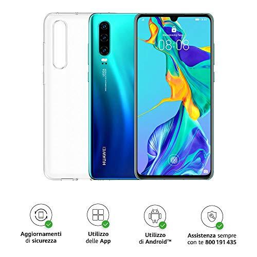 Huawei P30 Smartphone + Cover, 6GB RAM, Memoria 128 GB, Display 6.1 FHD+, 2340 x 1080 px, CPU Kirin 980, Tripla Fotocamera Posteriore 40+16+8MP, Fotocamera Anteriore da 32 MP, Aurora