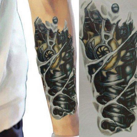 Braccio del robot tatuaggi tatoo temporanei wx050 adesivi per corpo e per parte superiore del braccio per uomo