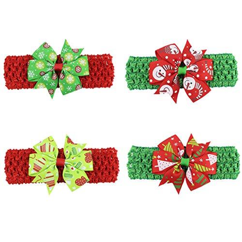 Baby Mädchen Weihnachten Bögen Clips Ripsband Haarschmuck Haarnadel Haarspange elastisches Stirnband Haarband 4 ()
