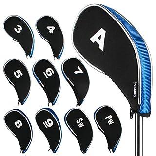 Andux Golf Iron Head Covers with Zipper 10pcs/set MT/YB01 Black/blue