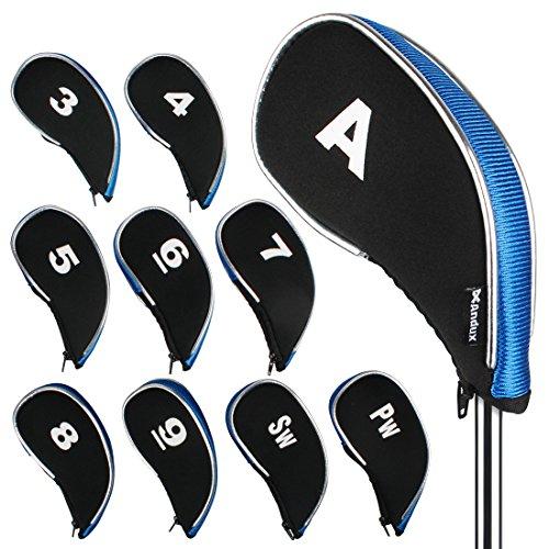 Andux couvre-clubs de golf avez zippé capuchon de golf 10pcs Noir/bleu MT/YB01