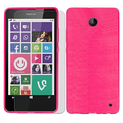 Conie SE226960 2er Set 9H Folie + Brushed Case Kompatibel mit Nokia Lumia 630, Handyhülle Set bestehend aus Folie Panzerglas & Brushed Silikon Hülle für Lumia 630 Set Pink
