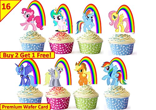 eburtstag Cup Cake Fairy Tortenaufsatz, essbarer Dekorationen Geburtstag Wafer * Stand Up * (My Little Pony-cups)