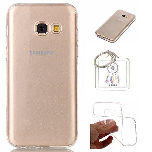 Preisvergleich Produktbild Hülle Galaxy A3 2017 ( A320F ) Hülle Soft Flex Transparent Silikon TPU Handyhülle Schutzhülle für Samsung Galaxy A3 2017 ( A320F ) Case Cover - Crystal Clear + Schlüsselanhänger (P) (1)