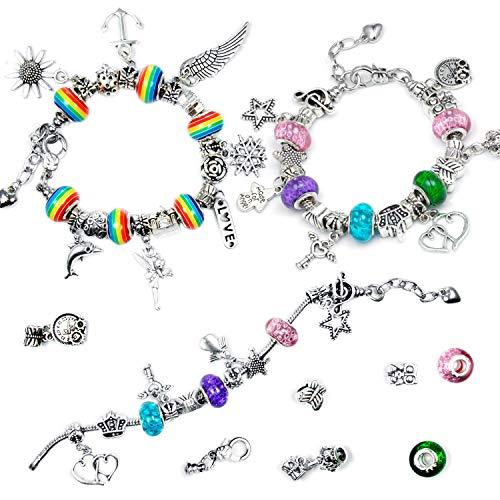 Czemo kit braccialetti fai da te, diy braccialetti con charm perline bracciale placcato in argento cofanetto gioielli regalo per bambina/ragazzina