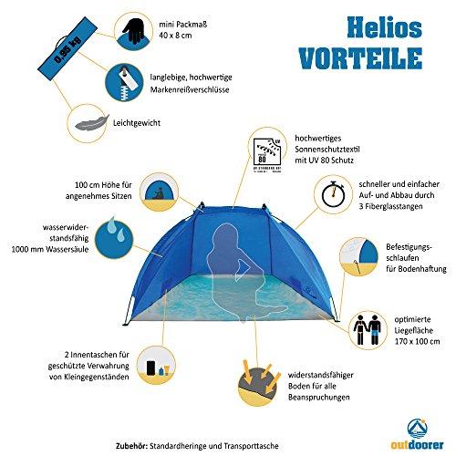 Outdoorer Strandmuschel Helios, blau, UV 60, extra leicht, Minipackmaß - 2