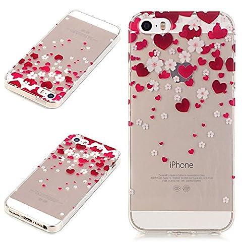 Beiuns coque en silicone pour Apple iPhone 5 5G 5S / iPhone SE (4 pouces) Housse Coque - N191 Cœurs rouges