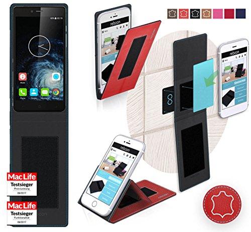 reboon Hülle für Elephone S2 Plus Tasche Cover Case Bumper   Rot Leder   Testsieger