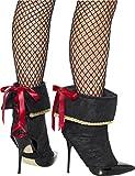 Smiffys Déguisement Femme, Couvre-bottes de pirate, Noir, avec nœud à l'arrière, 45546