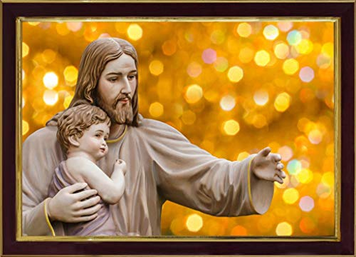 SAF 'Lord Jesus' UV Textured Painting (Synthetic, 22 cm x 33 cm x 3 cm, Multicolor)