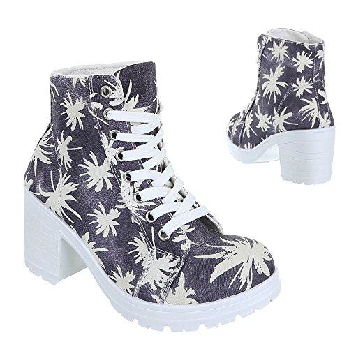 Damen Schuhe, JK-1, STIEFELETTEN Schwarz Weiß