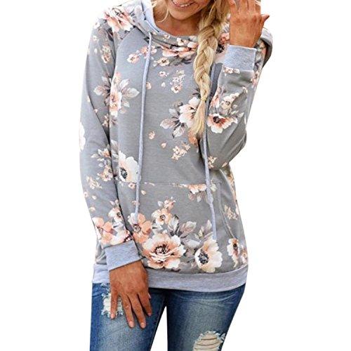 BIGHUB Small , Gray : Mingfa Womens Ladies Autumn Winter Casual Loose Floral Hooded Sweatshirt Jumper Pullover Tops Blouse