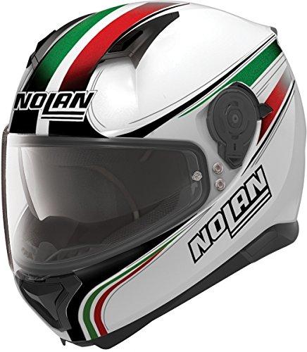 Nolan N87 Italy n-com-Casco integrale da moto, in policarbonato, colore: bianco metallizzato