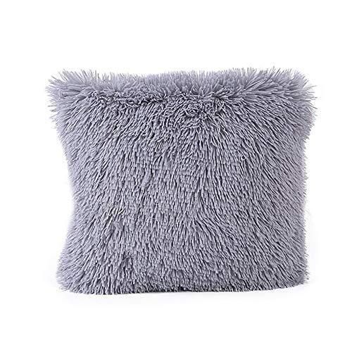 Ericcay 45Cm*45Cm Weiche Bequeme Short Plüsch Square Sofa Stuhl Kissen Unikat Abdeckung Throw Pillow Case Decorbox (Armee Grün) (Color : Grau, Size : Size) Short-throw-arm