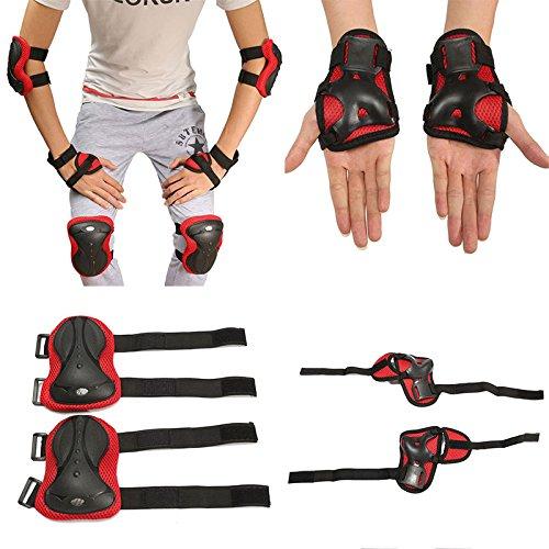 Forfar 6Pcs Coude de genou de poignet de sports Pads Protecteur Équipement de protection de planche à roulettes de patinage de rouleau de bicyclette de patinage Adulte