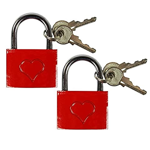 Com-Four ® Red Love Padlocks with Heart Engraving and 2Iron Keys 4 x 5.5 x 1cm