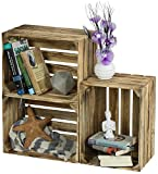LAUBLUST 3er Set Große Vintage Holzkisten - 40x30x25cm, Geflammt, Unbenutzt | Möbel-Kiste | Wein-Kiste | Obst-Kiste | Apfel-Kiste | Deko-Kiste aus Holz