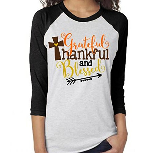 Vin beauty wlgreatsp Grateful Thankful Blessed Flèche 3/4 Manches T-Shirt Femmes Top T-Shirt black