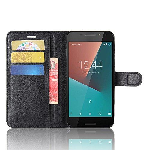 Galleria fotografica COVO® Faux Cuir Portefeuille Coque pour Vodafone Smart N8 et Stand Fonction Protection Smartphone (Nero)