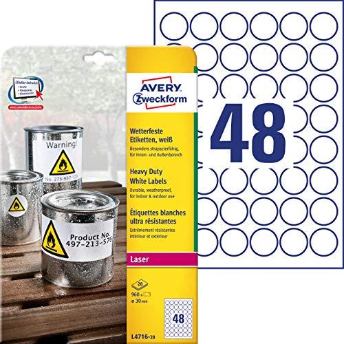 Avery Zweckform L4716-20 - Etichette impermeabili, diametro: 30 mm, 20 fogli per 960 pezzi in totale, colore: Bianco