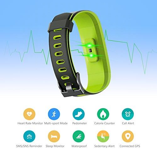 Muzili Fitness Armband YG3C Aktivitätstracker Herzfrequenzmonitor Farbdisplay IP68 Wasserdicht Fitness Tracker mit Schrittzähler Schlafmonitor Kalorienzähler für Kinder Damen Herrn(Black Green) - 2