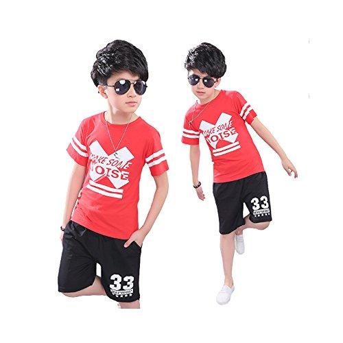 ungen Kleidung SET 2PCS Fashion Kinder Kleidung Casual T Shirt + kurze Unterhose Sport, 110 cm (Hip Hop Tanz Kostüm Für Jungen)