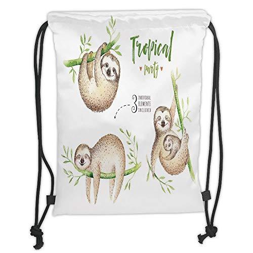 LULUZXOA Gym Bag Printed Drawstring Sack Backpacks Bags,Sloth,Cute Babies in Tropical Nature Theme Exotic Palm Tree Leaves Nursery Aloha Decorative,Light Brown Green Soft Satinrin -
