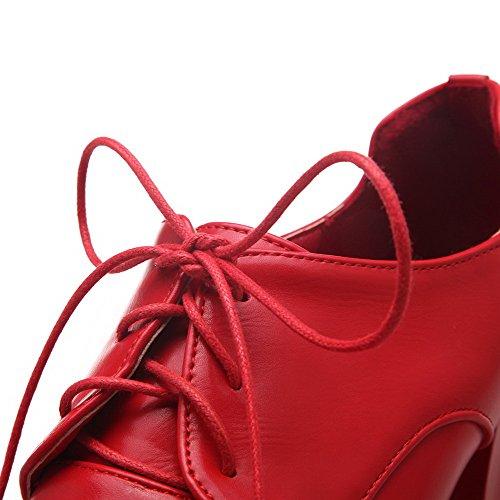 VogueZone009 Femme Mosaïque Matière Souple à Talon Haut Lacet Pointu Chaussures Légeres Rouge