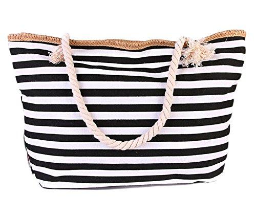 Striped Borse Di Tela Borse Della Spiaggia Sacchetto Di Spalla Casuale Corda Di Cotone Borsa Black