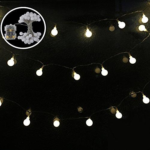 Luces de la secuencia de la bola, 50 luces de hadas del globo del LED, luz de la Navidad impermeable con 8 modos, uso para el interior / al aire libre, jardín, patio, yarda, árbol de navidad, fiestas, hogar 16.4FT (5M) De Shovan