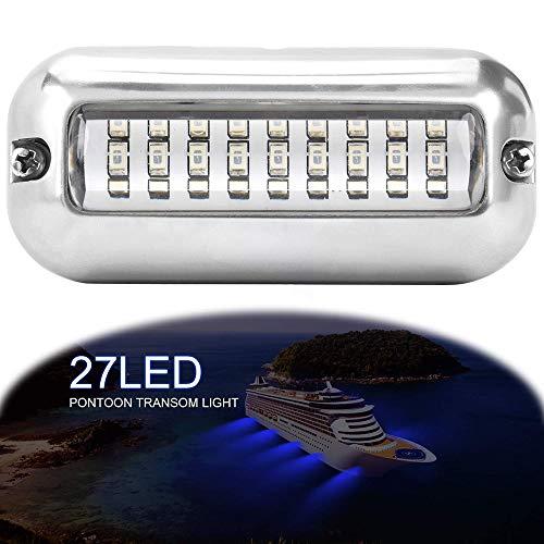 ALLOMN Bootsnavigationslicht, 50W 12V 27 LED Navigationslampe Grünweiß Blau Marine Light IP68 Wasserdichtes Unterwasser Edelstahl Schiffsstrahl Licht (Blau) (Marine Boot Verdrahtung)