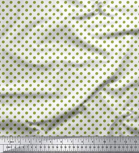 Soimoi Grun schwere Leinwand Stoff Polka dots gedruckt Craft Fabric 1 Meter 58 Zoll breit -