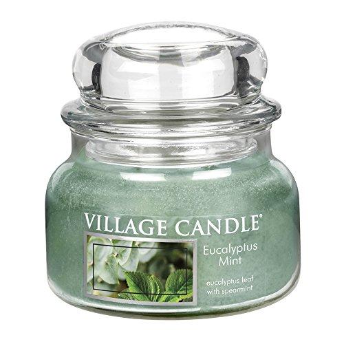 Minze Duftkerze (Village Candle 106311818 Eukalyptus-Minze Kleine Duftkerze, 312 g, Glas, grün, 9.8 x 9.5 cm)