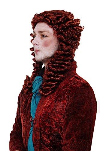 (Wig me up - Perücke Faschingsperücke Karneval Adliger Barock Renaissance Richter Lord Casanova Prinz Rot WIG013-P350)