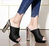 HGTYU-13 Cm Sommer neue Sexy Tau Tropfen kalte dicke Schuhe mit extrem hoher Mit wasserdichten Taiwan Nachtclubs Schuhe flache Damenschuhe Schwarz 36